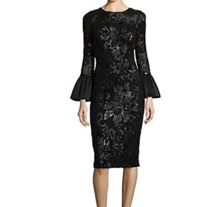 Betsy & Adam black sequin dress